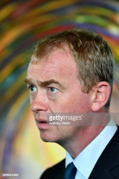 Liberal Democrat leader Tim Farron visits the Tim Parry Jonathan Bell Foundation For Peace on May 26 2017 in Warrington England The main political...