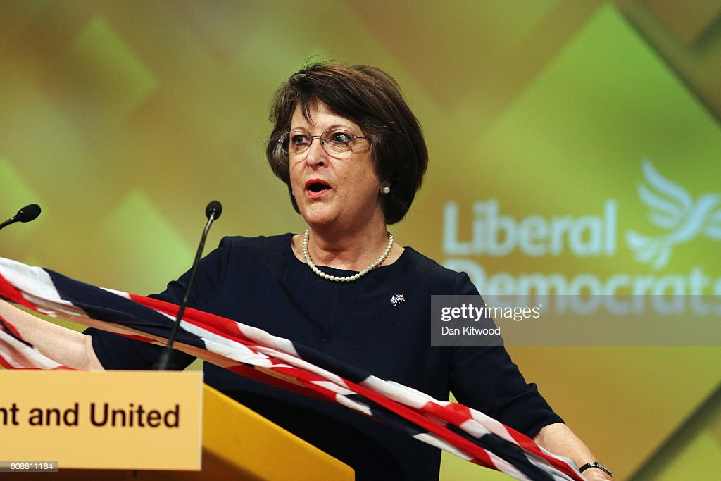 Liberal Democrat MEP Catherine Bearder speaks to delegates during the final day of the Liberal Democrat conference on September 20, 2016 in Brighton, England. The party leader Tim Farron will deliver his final speech later today when he will announce that one of his party's key pledges would be to raise taxes to fund shortfalls in the NHS.