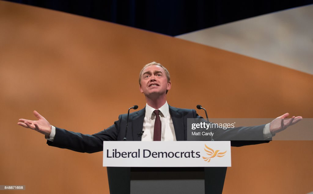 Liberal Democrat MP and former leader of the party Tim Farron speaks to delegates at the Bournemouth International Centre on September 18, 2017 in Bournemouth, England. The pro-remain party, which is campaigning for a second referendum on the outcome of EU talks, is holding its annual conference at the English seaside town.