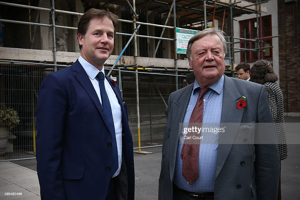 Liberal Democrat MP Nick Clegg and Conservative Party MP Ken Clarke arrive to attend a memorial service for former Liberal Democrat leader Charles...