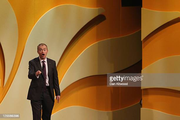 Liberal Democrat MP Tim Farron speaks during the Liberal Democrat Autumn Conference at the International Convention Centre on September 18 2011 in...
