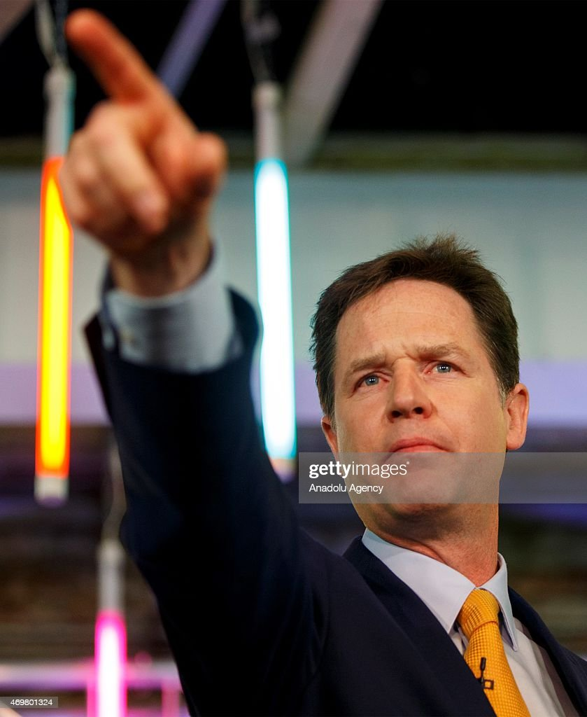 Liberal Democrat Party leader and Deputy Prime Minister Nick Clegg launching his party's manifesto ahead of the UK general election at TestBed1 in Battersea, London, England on April 15, 2015.