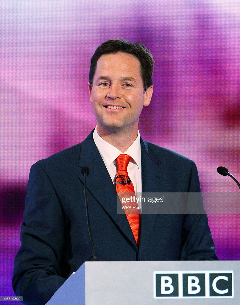 Liberal Democrat party leader <a gi-track='captionPersonalityLinkClicked' href=/galleries/search?phrase=Nick+Clegg&family=editorial&specificpeople=579276 ng-click='$event.stopPropagation()'>Nick Clegg</a> smiles during the third and final leaders' debate, at the University of Birmingham, April 29, 2010 in Birmingham, England. The debate is focusing on the economy ahead of next week's general election which is set to be one of the most closely fought political contests in recent times.