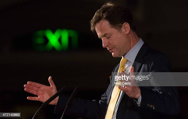 Liberal Democrat party leader Nick Clegg speaks at the Citizens UK event at Westminster Central Hall on May 4 2015 in London England Prime Minister...