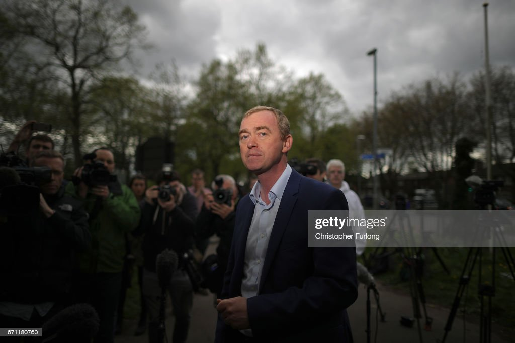 Liberal Democrat party leader, Tim Farron, arrives to address supporters as he launches the party's general election campaign on April 21, 2017 in Manchester, England. Lib Dem leader Tim Farron chose Cringle Park, on the boundary of Gorton and Withington in Manchester, which will be key target seats for the Libdems in the 2017 general election.