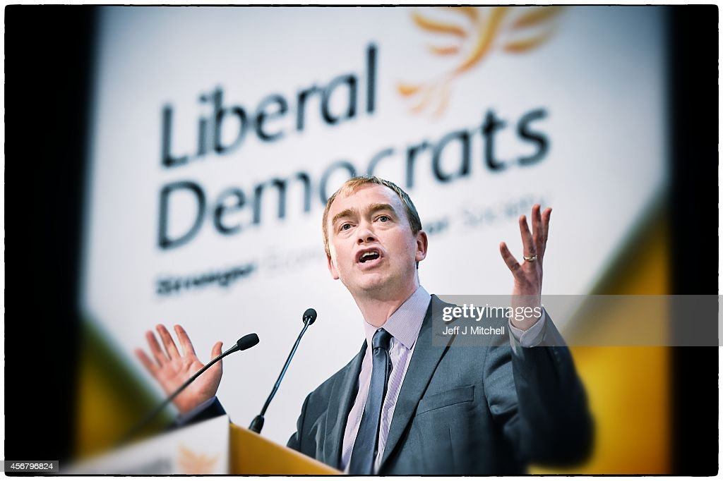 Liberal Democrat party president Tim Farron delivers his keynote speech on the fourth day of the Liberal Democrat Autumn conference at the SECC on October 7, 2014 in Glasgow, Scotland. Lib Dem members earlier rejected a proposed U-turn by the leadership on the party's stance on airport expansions.