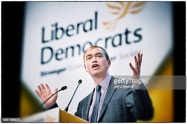 Liberal Democrat party president Tim Farron delivers his keynote speech on the fourth day of the Liberal Democrat Autumn conference at the SECC on...
