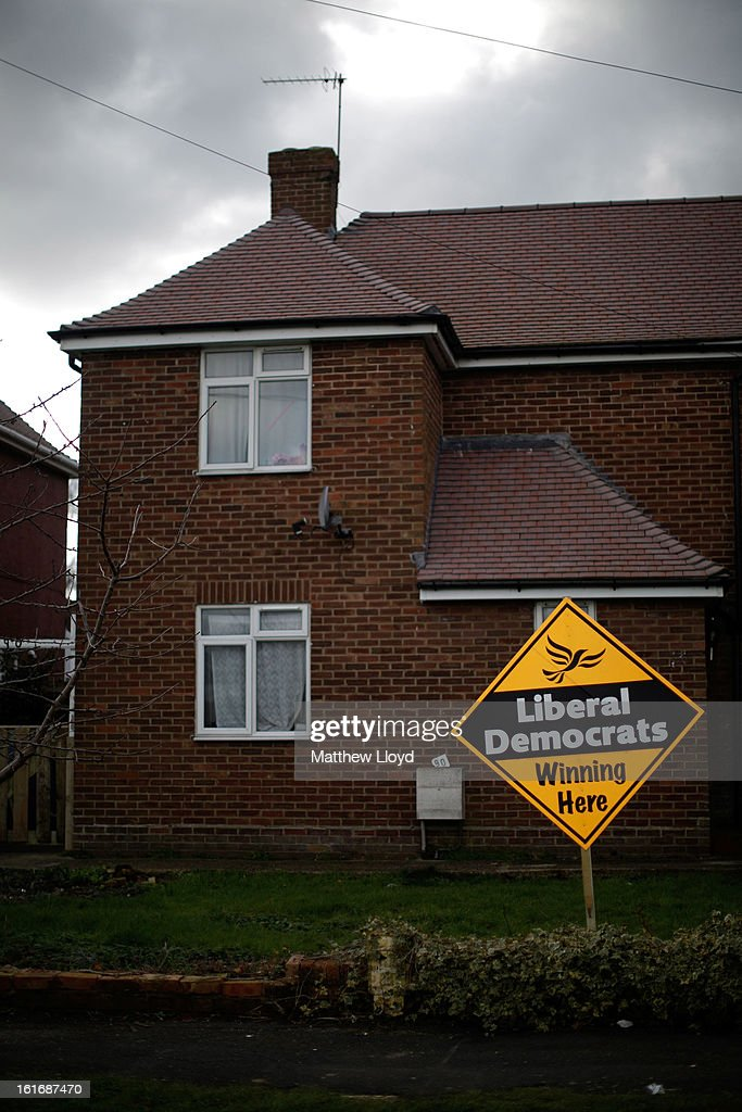 A Liberal Democrat placard is displayed outside a house on February 14, 2013 in Eastleigh, Hampshire. A by-election has been called in the constituency of Eastleigh after it's former MP, Chris Huhne, resigned after pleading guilty to perverting the course of justice over claims his ex-wife took speeding points for him in 2003.