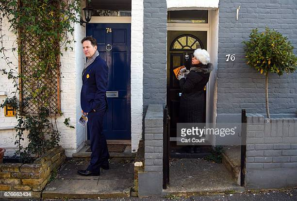 Liberal Democrat prospective parliamentary candidate Sarah Olney and former Party leader Nick Clegg canvass ahead of the Richmond Park and North...