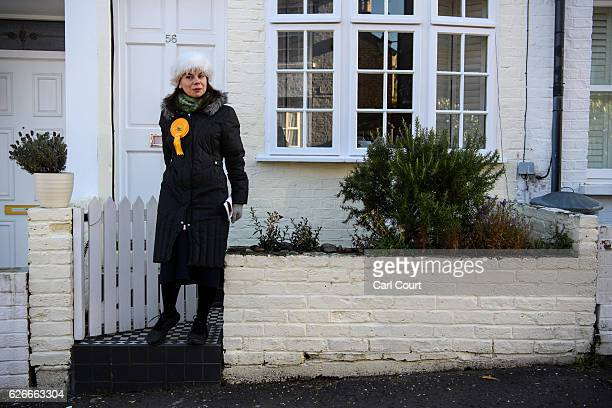 Liberal Democrat prospective parliamentary candidate Sarah Olney canvasses ahead of the Richmond Park and North Kingston byelection on November 30...
