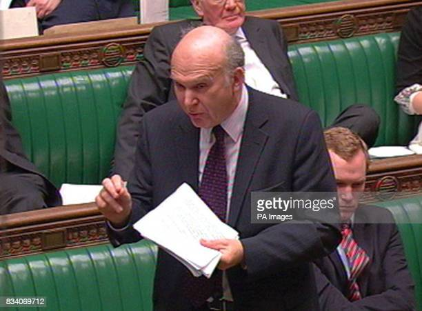 Liberal Democrat Shadow Chancellor Vince Cable speaks after Chancellor Alistair Darling made a statement to the House of Commons London regarding the...