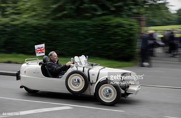Liberal Democrat supporter Roy Deboise drives his Citroen 2CV Lomax threewheel car on his way to a remain rally by Liberal Democrat Leader Tim Farron...