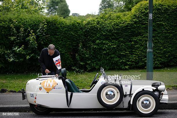 Liberal Democrat supporter Roy Deboise parks his Citroen 2CV Lomax threewheel car on his way to a remain rally by Liberal Democrat Leader Tim Farron...