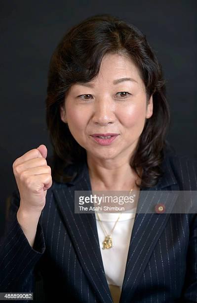 Liberal Democratic Party lawmaker Seiko Noda speaks during the Asahi Shimbun interview on September 9 2015 in Tokyo Japan