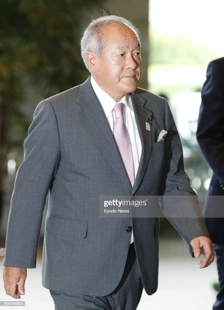 Liberal Democratic Party lower house member Shunichi Suzuki arrives at the prime minister's office in Tokyo on Aug. 3, 2017, to be named as minister in charge of the Tokyo Olympic and Paralympic Games in a Cabinet reshuffle. ==Kyodo