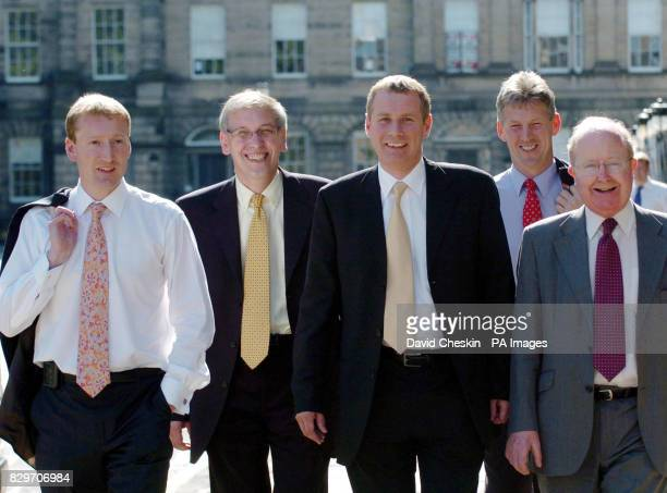 Liberal Democrats depart Bute House in Edinburgh with the new lineup in the Executive cabinet announced after Nicol Stephen's election as Scottish...
