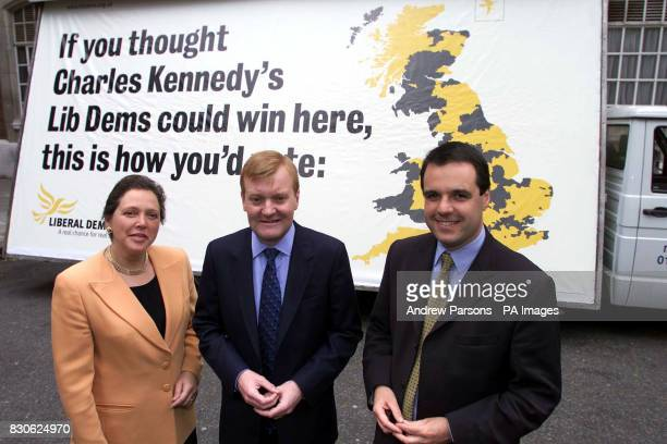 Liberal Democrats leader Charles Kennedy unveils a new election campaign poster with campaign Chairman for London Susan Kramer and chancellor Matthew...