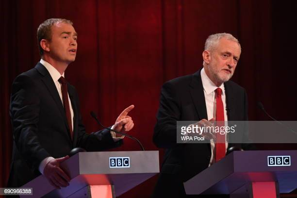Liberal Democrats leader Tim Farron and Labour leader Jeremy Corbyn take part in the BBC Election Debate hosted by BBC news presenter Mishal Husain...