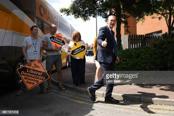 Liberal Democrats leader Tim Farron gives the thumbs up as he arrives at a rally at the Shiraz Mirza Community Hall on June 1 2017 in Kingston upon...
