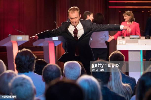 Liberal Democrats leader Tim Farron leaps off stage after taking part in the BBC Election Debate hosted by BBC news presenter Mishal Husain as it is...