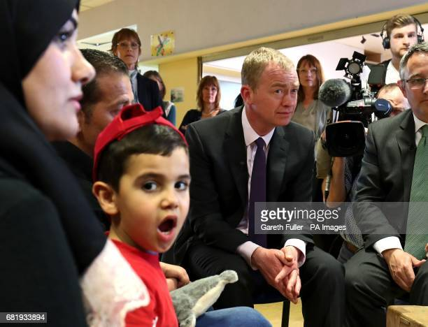 Liberal Democrats leader Tim Farron meets a refugee family from Syria during a visit to charity Gloustershire Action for Refugess and Asylum Seekers...