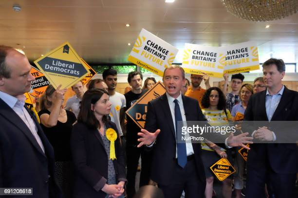 Liberal Democrats leader Tim Farron speaks as Nick Clegg MP and Liberal Democrat MP for Richmond Park Sarah Olney look on during a rally at the...