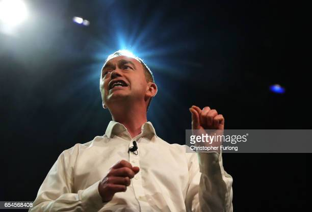 Liberal Democrats party leader Tim Farron addresses delegates during a rally on the first day of the Liberal Democrats spring conference at York...
