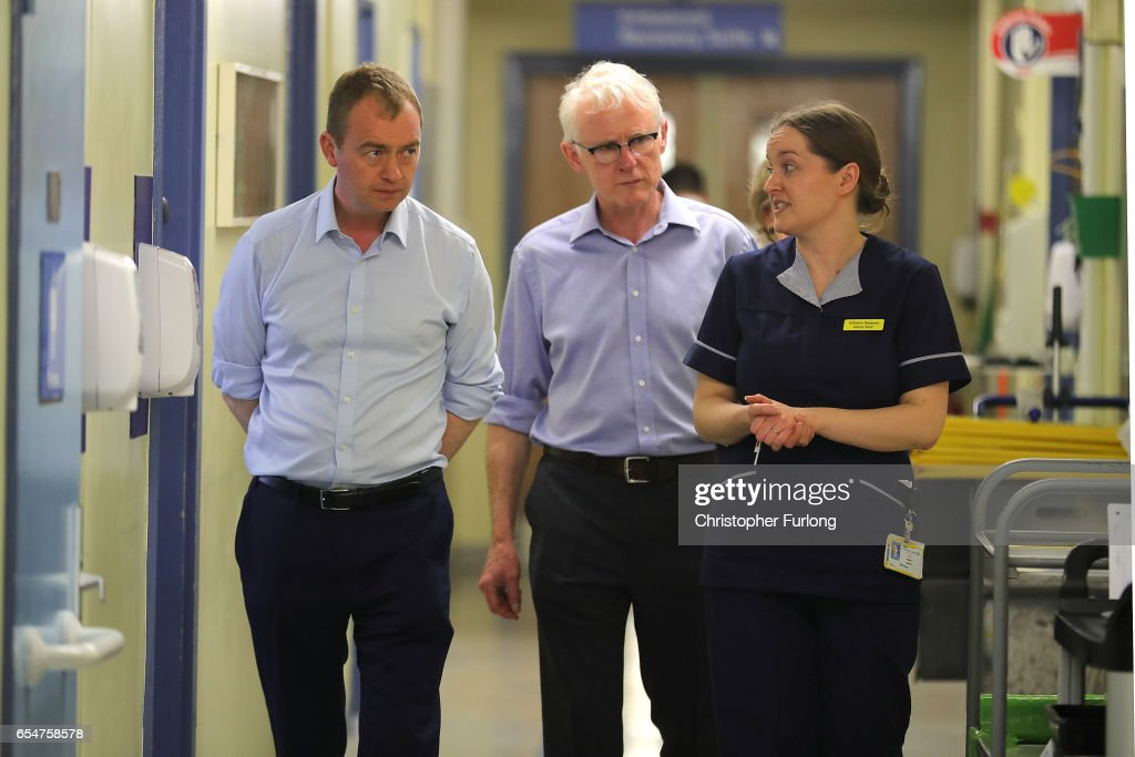 Liberal Democrats party leader, Tim Farron (L) and Shadow Health Secretary Norman Lamb talk to Deputy Sister Allison Sawyer during a visit to York Hospital on the second day of the Liberal Democrats spring conference at York Barbican on March 18, 2017 in York, England. Lib Dem leader Tim Farron is to rally members during the weekend and appeal to voters across the United Kingdom who voted to remain in the EU at the referendum.