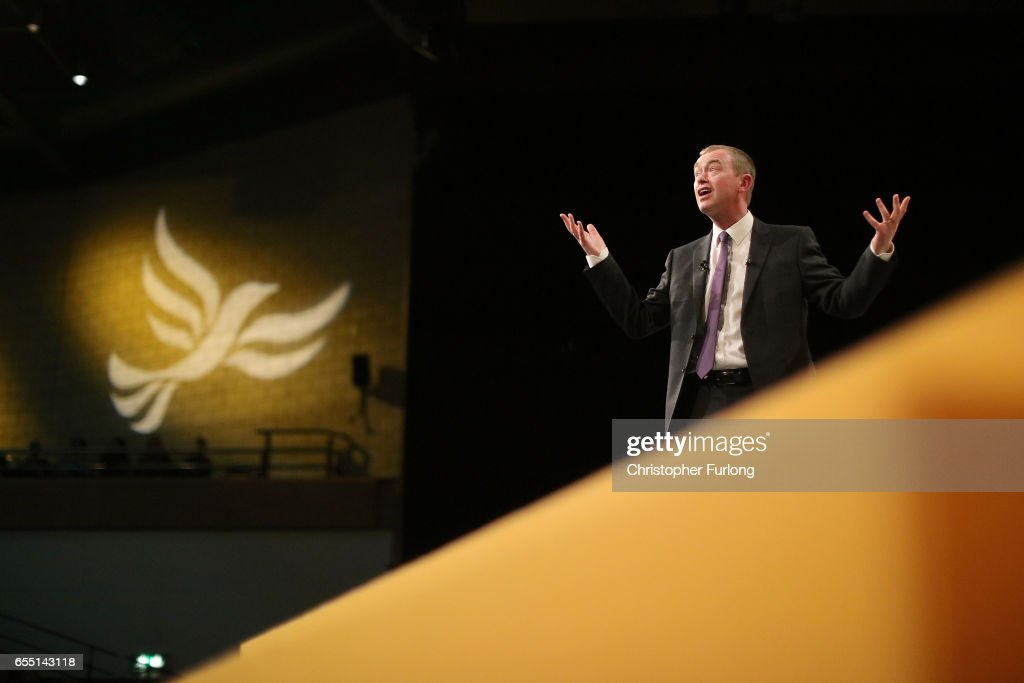 Liberal Democrats party leader Tim Farron delivers his keynote speech to party members on the last day of the Liberal Democrats spring conference at York Barbican on March 19, 2017 in York, England. Lib Dem leader Tim Farron said that the Liberal Democrats are the 'real opposition' to Prime Minister Theresa May and that the Lib Dems are the 'only party in British politics opposed to a hard Brexit'.