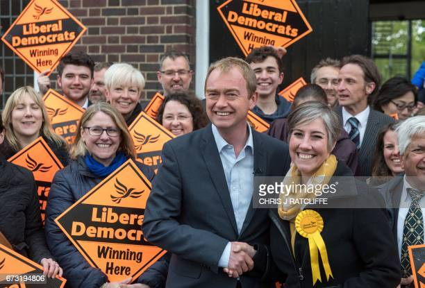 Liberal Democrats party leader Tim Farron flanked by local candidate Daisy Cooper greets supporters while visiting the National Pharmacy Association...