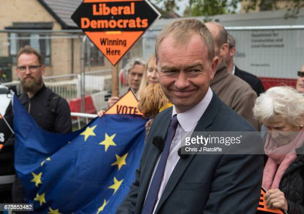 Liberal Democrats party leader Tim Farron speaks whilst campaigning at Eastfield regeneration site on April 27 2017 in Cambridge England Mr Farron...