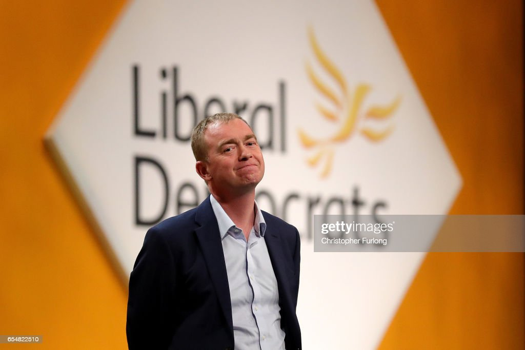 Liberal Democrats party leader Tim Farron takes part in a question and answer session from members on the second day of the Liberal Democrats' spring conference at York Barbican on March 18, 2017 in York, England. Lib Dem leader Tim Farron is to rally members during the weekend and appeal to voters across the United Kingdom who voted to remain in the EU at the referendum.