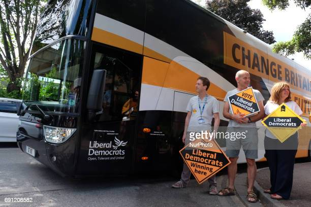 Liberal Democrats supporters attend Liberal Democrat leader Tim Farron and former leader Nick Clegg visit Kingston Hospital in West London where they...