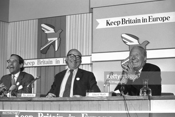 Liberal leader Jeremy Thorpe Home Secretary Roy Jenkins and former Opposition leader Edward Heath present a united front during the Keep Britain in...