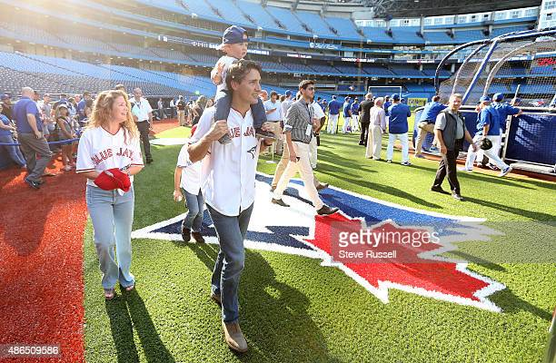 TORONTO ON SEPTEMBER 4 Liberal Leader Justin Trudeau with his son Hadrien and wife Sophie leave the field as the Toronto Blue Jays play the Baltimore...