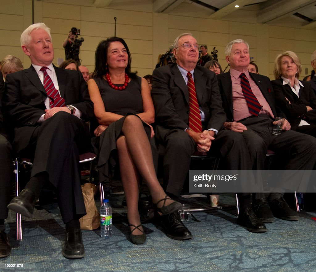 Liberal leadership voting begins. Bob and Arlene Perly Rae with former PMs Paul Martin and John Turner.