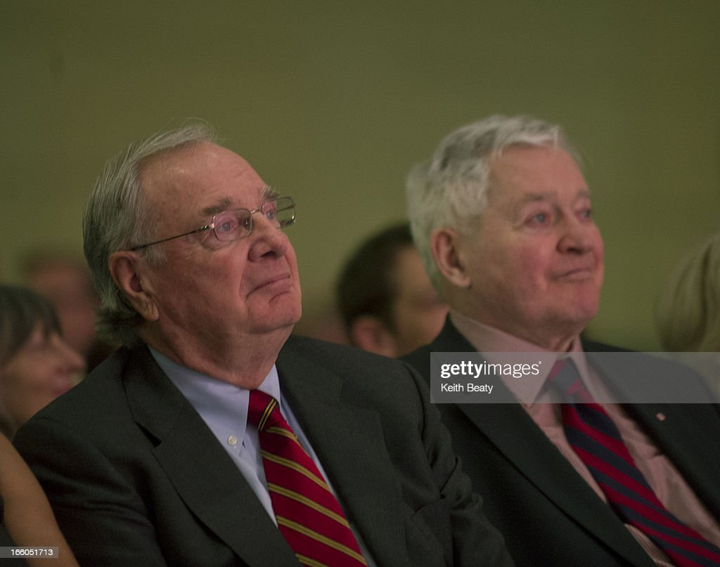 Liberal leadership voting begins. P{hotos of former PM's Paul Martin and John Turner.