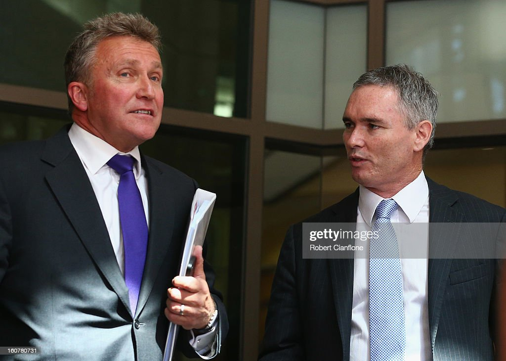 Liberal MP, Craig Thomson and his lawyer Philip Brewin leave Melbourne Magistrates Court on February 6, 2013 in Melbourne, Australia. Thompson is facing charges on 149 criminal charges including allegations he misused member funds to pay prostitutes, book travel and withdraw cash when he was national secretary of the Heatlh Services Union.