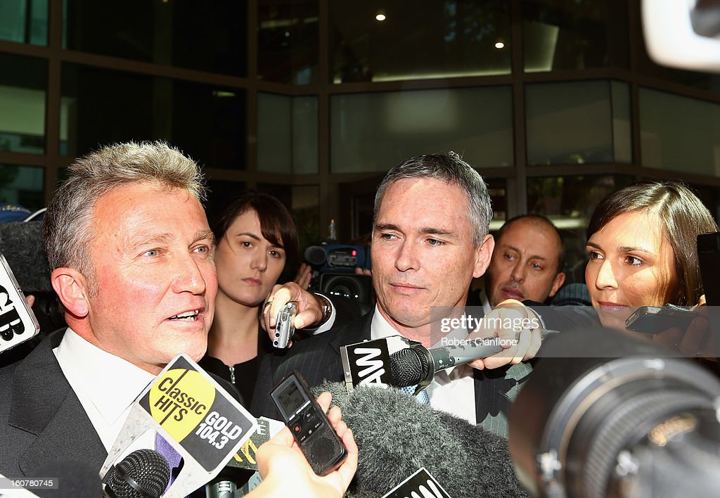 Liberal MP, Craig Thomson and his lawyer Philip Brewin talk to the media as they leave Melbourne Magistrates Court on February 6, 2013 in Melbourne, Australia. Thompson is facing charges on 149 criminal charges including allegations he misused member funds to pay prostitutes, book travel and withdraw cash when he was national secretary of the Heatlh Services Union.