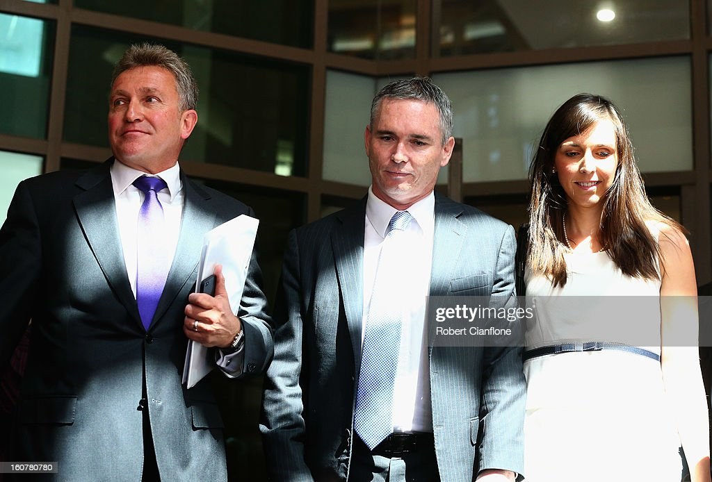 Liberal MP, Craig Thomson and his wife Zoe Arnold along with his lawyer Philip Brewin leave Melbourne Magistrates Court on February 6, 2013 in Melbourne, Australia. Thompson is facing charges on 149 criminal charges including allegations he misused member funds to pay prostitutes, book travel and withdraw cash when he was national secretary of the Heatlh Services Union.