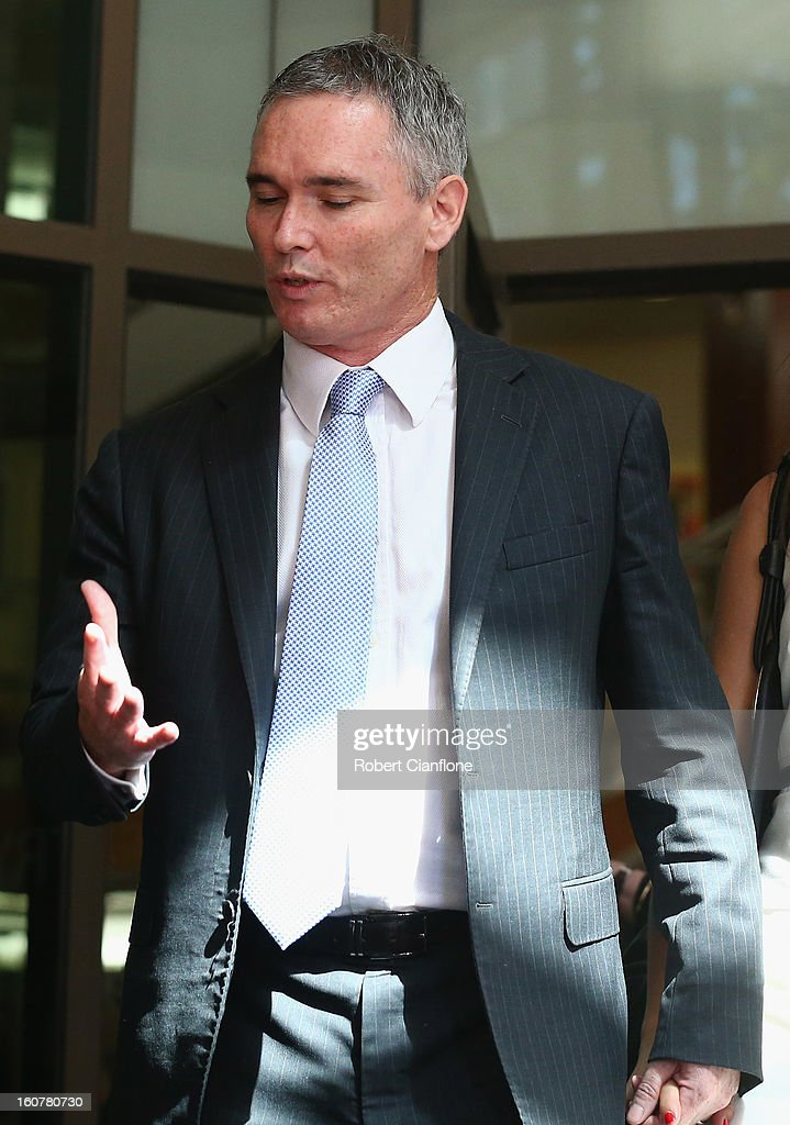 Liberal MP Craig Thomson leaves the Melbourne Magistrates Court on February 6 2013 in Melbourne Australia Thompson is facing charges on 149 criminal...