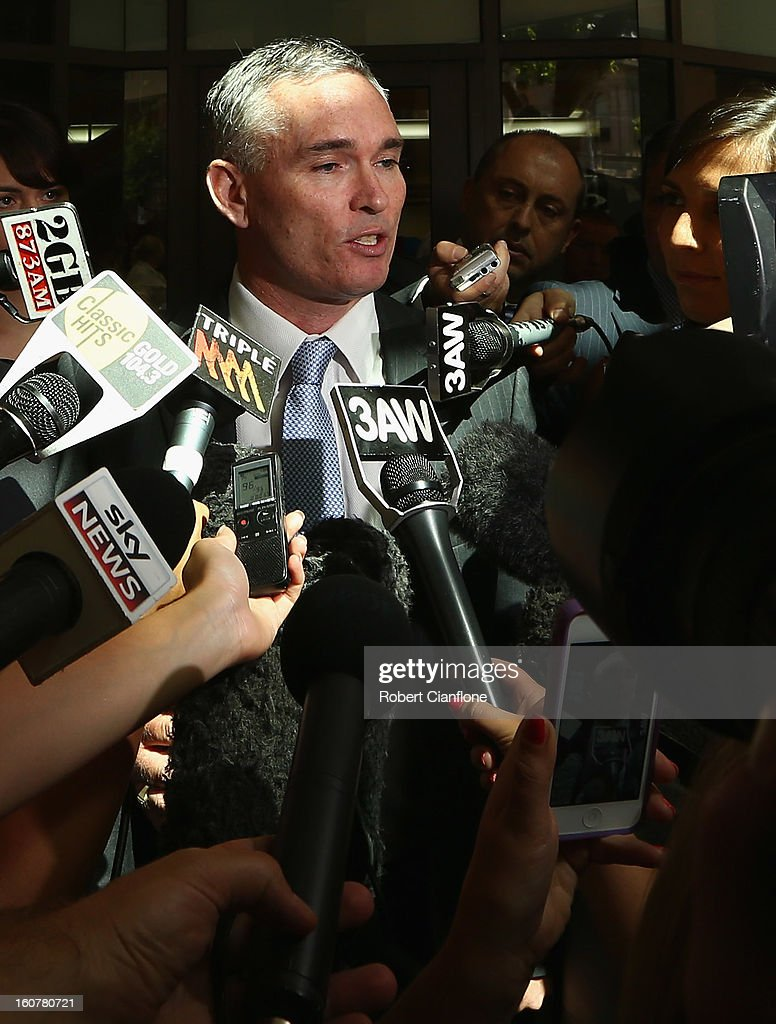 Liberal MP, Craig Thomson talks to the media as he leaves the Melbourne Magistrates Court on February 6, 2013 in Melbourne, Australia. Thompson is facing charges on 149 criminal charges including allegations he misused member funds to pay prostitutes, book travel and withdraw cash when he was national secretary of the Heatlh Services Union.