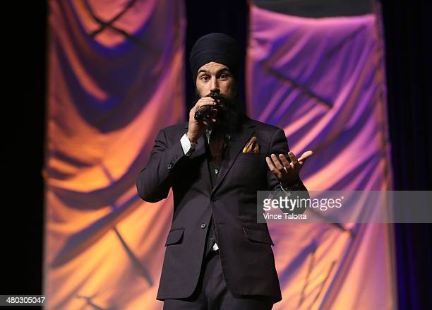 TORONTO ON MARCH 22 Liberal MPP Jagmeet Singh talks to the crowd at Thaalam The Ultimate Gaana Dance Competition in the John Bassett Theatre at the...