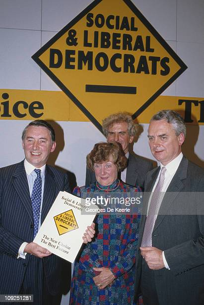 Liberal Party leader David Steel and Shirley Williams of the Social Democratic Party announce their parties' merger to form the Social and Liberal...