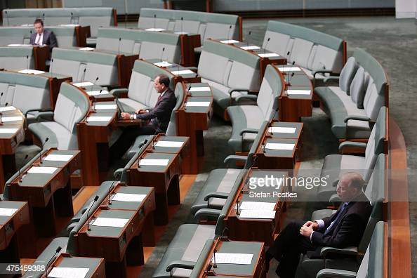 Liberal Party members listen to the Leader of the Opposition Bill Shorten introduce the Marriage Equality Bill to the House of Representatives at...