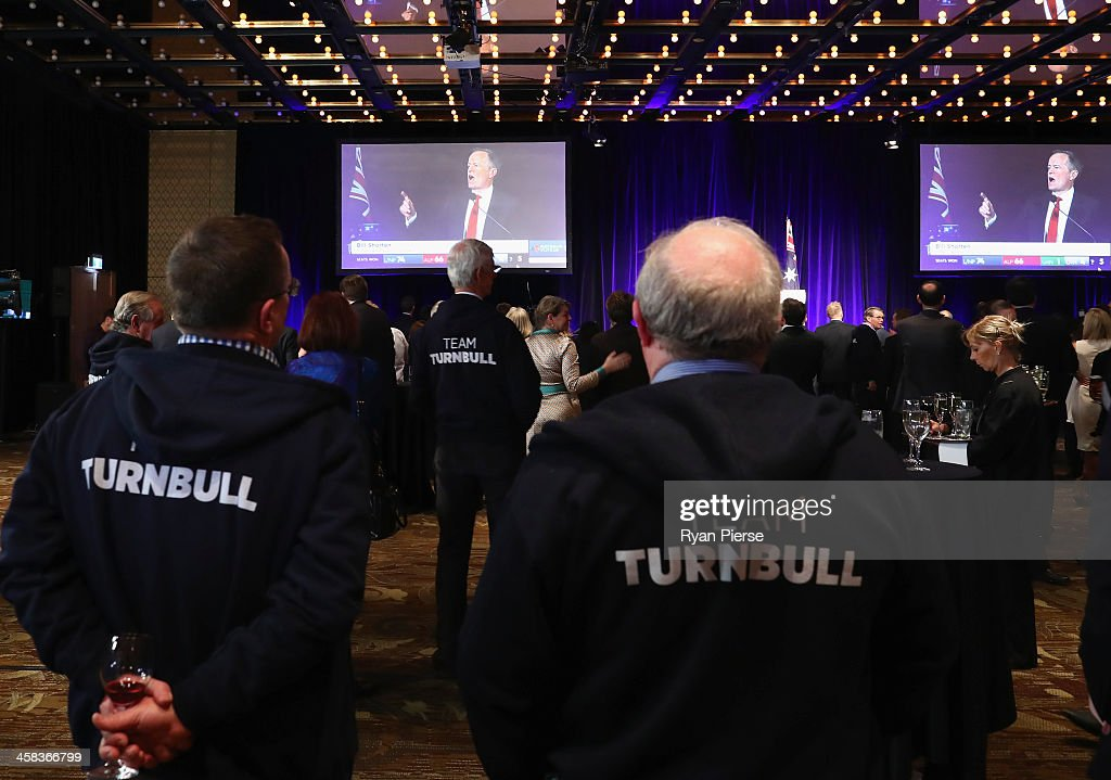 Liberal party supporters watch on at Labor leader Bill Shorten speaks in Melbourne at Sofitel Wentworth on July 2, 2016 in Sydney, Australia. With results too close to call after a marathon eight-week campaign, no outright winner has been announced as yet.