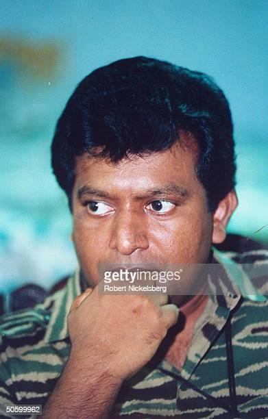 LTTE Liberation Tigers of Tamil Eelam rebel ldr Vilupillai Prabakaran during TIME interview