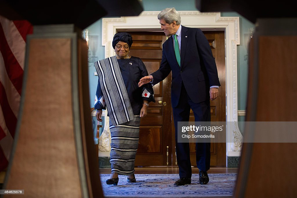 Liberia President <a gi-track='captionPersonalityLinkClicked' href=/galleries/search?phrase=Ellen+Johnson+Sirleaf&family=editorial&specificpeople=547358 ng-click='$event.stopPropagation()'>Ellen Johnson Sirleaf</a> (L) and U.S. Secretary of State <a gi-track='captionPersonalityLinkClicked' href=/galleries/search?phrase=John+Kerry&family=editorial&specificpeople=154885 ng-click='$event.stopPropagation()'>John Kerry</a> arrive for a media availability in the Treaty Room at the Department of State February 27, 2015 in Washington, DC. President Sirleaf will also meet with members of Congress and President Barack Obama to thank them for the United States government's help to in the fight against Ebola and to ask for increased support for her country's post-virus recovery.