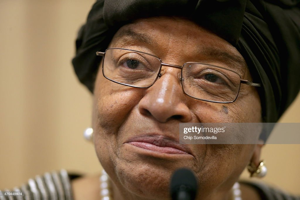 Liberia President Ellen Johnson Sirleaf speaks during a news conference about the ongoing fight against the Ebola outbreak in West Africa during the World Bank-International Monetary Fund Spring Meetings April 17, 2015 in Washington, DC. The World Bank announced Friday that it would provide an additional US$650 million over the next year to help Guinea, Liberia and Sierra Leone to recover from the social, economic and health impact of the Ebola crisis.