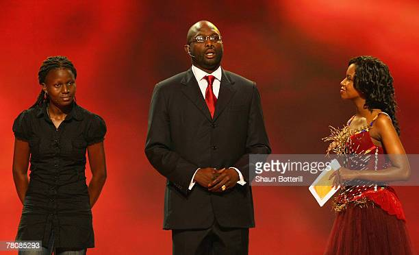 Liberia soccer legend George Weah speaks during the 2010 FIFA World Cup Preliminary Draw at the ICC convention centre on November 25 2007 in Durban...